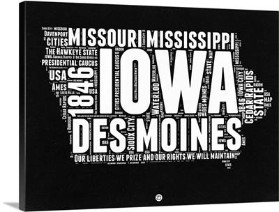 Iowa Black and White Map
