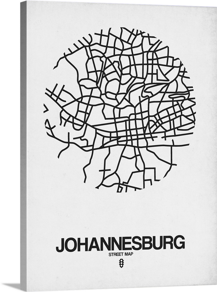 Johannesburg Street Map White Wall Art Canvas Prints Framed Prints