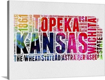 Kansas Watercolor Word Cloud