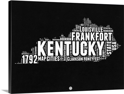 Kentucky Black and White Map