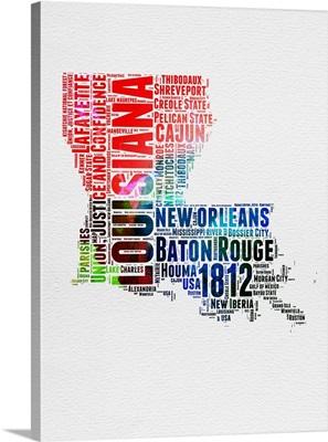 Louisiana Watercolor Word Cloud