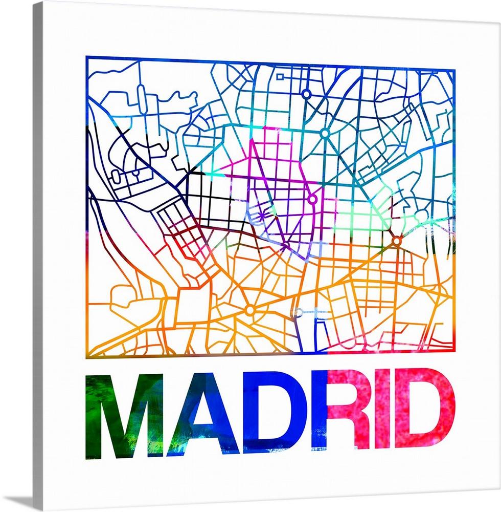 Madrid Watercolor Street Map Wall Art Canvas Prints Framed Prints