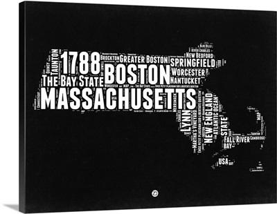 Massachusetts Black and White Map