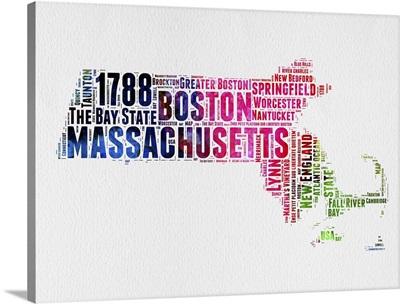 Massachusetts Watercolor Word Cloud