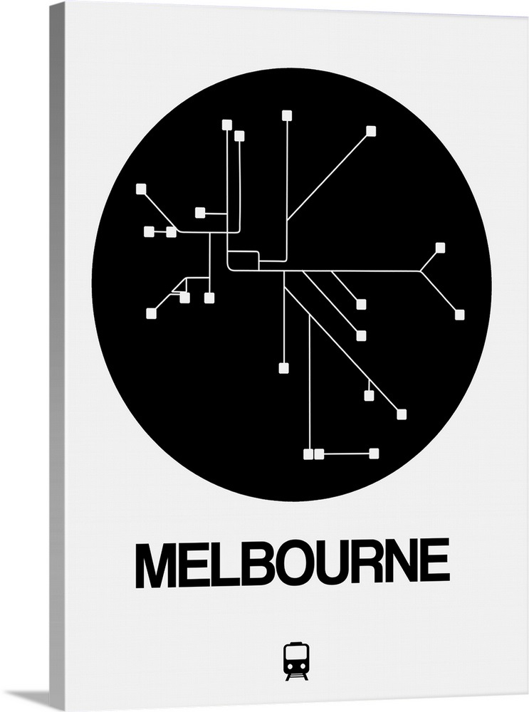 Black And White Subway Map.Melbourne Black Subway Map