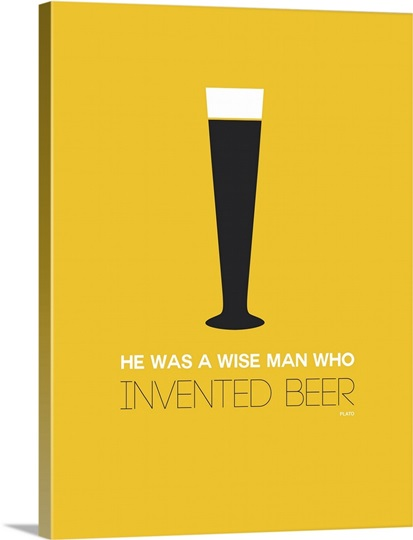 Minimalist Beverage Poster - Beer Glass - Yellow Wall Art, Canvas ...