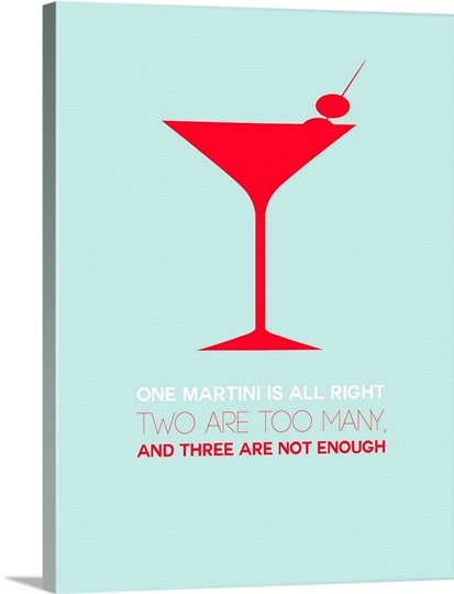Minimalist Beverage Poster - Martini - Red Wall Art, Canvas Prints ...
