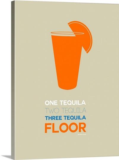 Minimalist Beverage Poster -Tequila Shot - Orange Wall Art, Canvas ...