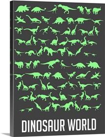 Minimalist Dinosaur World Poster - Green