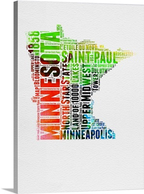 Minnesota Watercolor Word Cloud