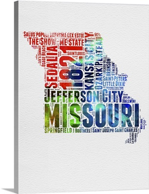 Missouri Watercolor Word Cloud