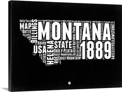 Montana Black and White Map