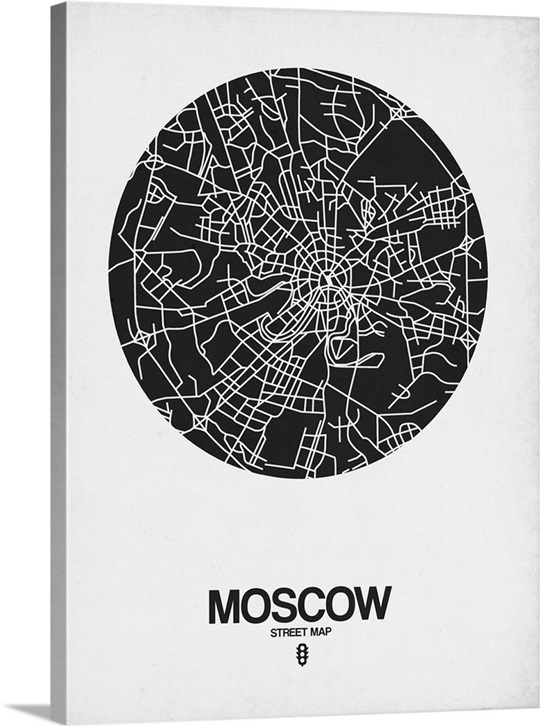 Moscow street map black on white