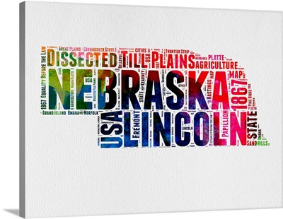 Nebraska Watercolor Word Cloud