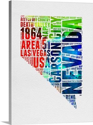 Nevada Watercolor Word Cloud