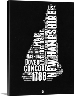 New Hampshire Black and White Map