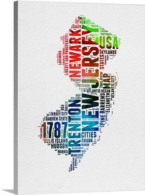 New Jersey Watercolor Word Cloud