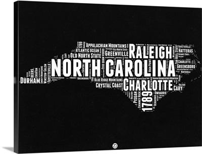 North Carolina Black and White Map