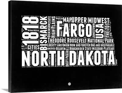 North Dakota Black and White Map