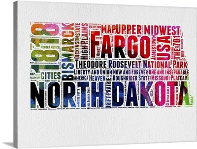North Dakota Watercolor Word Cloud