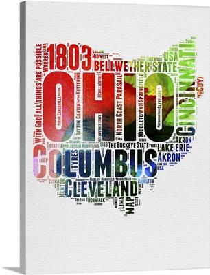 Ohio Watercolor Word Cloud