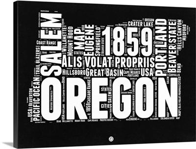 Oregon Black and White Map