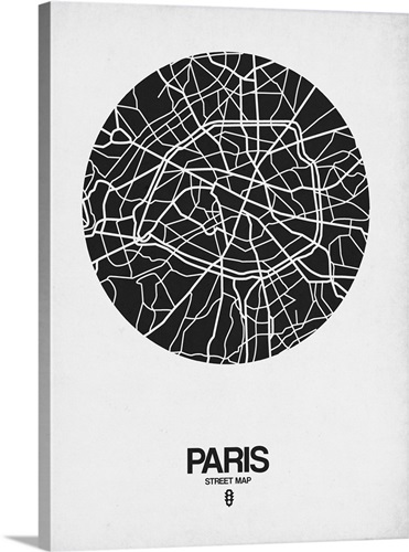 Paris Street Map Black on White Wall Art, Canvas Prints, Framed ...