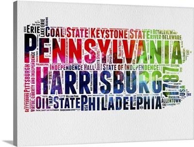 Pennsylvania Watercolor Word Cloud