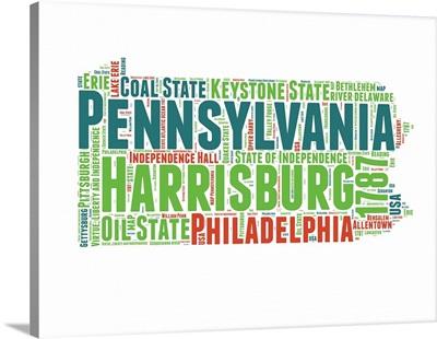 Pennsylvania Word Cloud Map