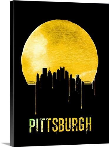 Pittsburgh Skyline Yellow Wall Art, Canvas Prints, Framed Prints ...