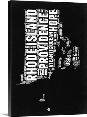 Rhode Island Black and White Map