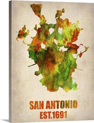 San Antonio Watercolor Map