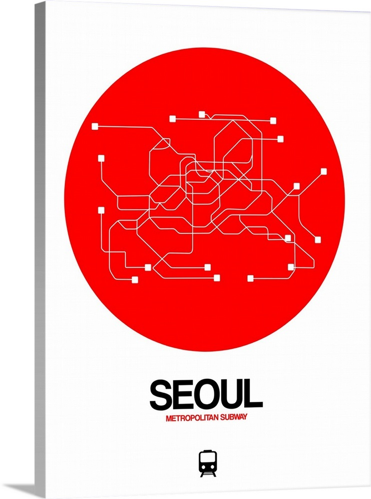 Seoul Subway Map Poster.Seoul Red Subway Map