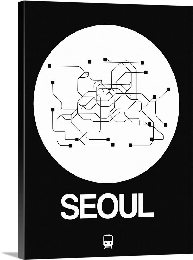 Black And White Subway Map.Seoul White Subway Map