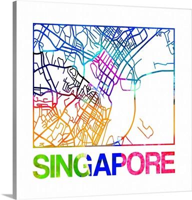 Singapore Watercolor Street Map