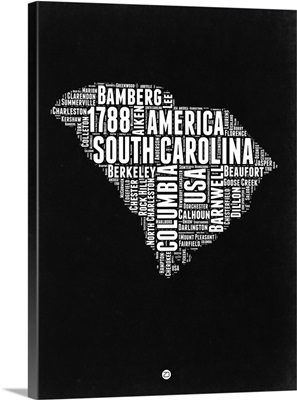 South Carolina Black and White Map