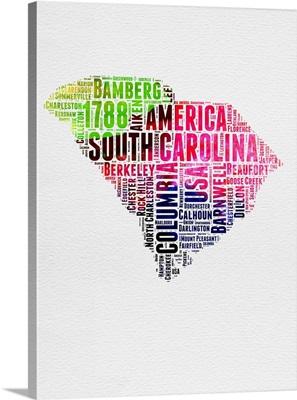 South Carolina Watercolor Word Cloud