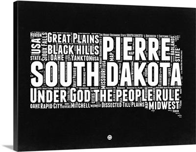 South Dakota Black and White Map