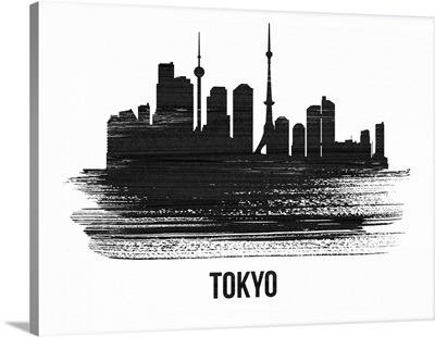 Tokyo Skyline Brush Stroke Black II