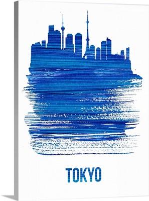 Tokyo Skyline Brush Stroke Blue