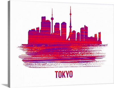 Tokyo Skyline Brush Stroke Red