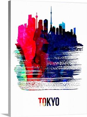 Tokyo Skyline Brush Stroke Watercolor