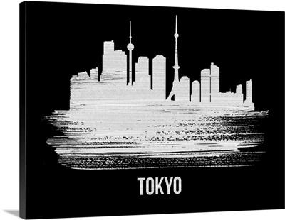 Tokyo Skyline Brush Stroke White