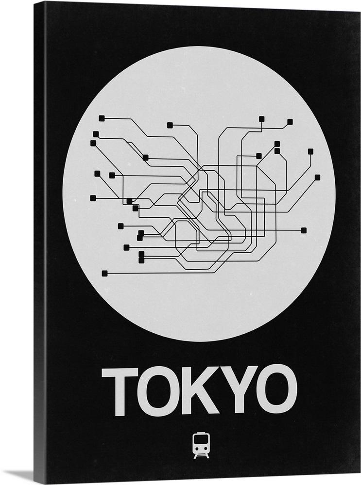 Tokyo Subway Map Framed.Tokyo White Subway Map