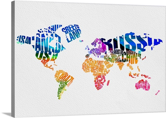 Typography world map vii wall art canvas prints framed prints typography world map vii canvas gumiabroncs Choice Image