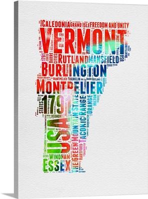 Vermont Watercolor Word Cloud