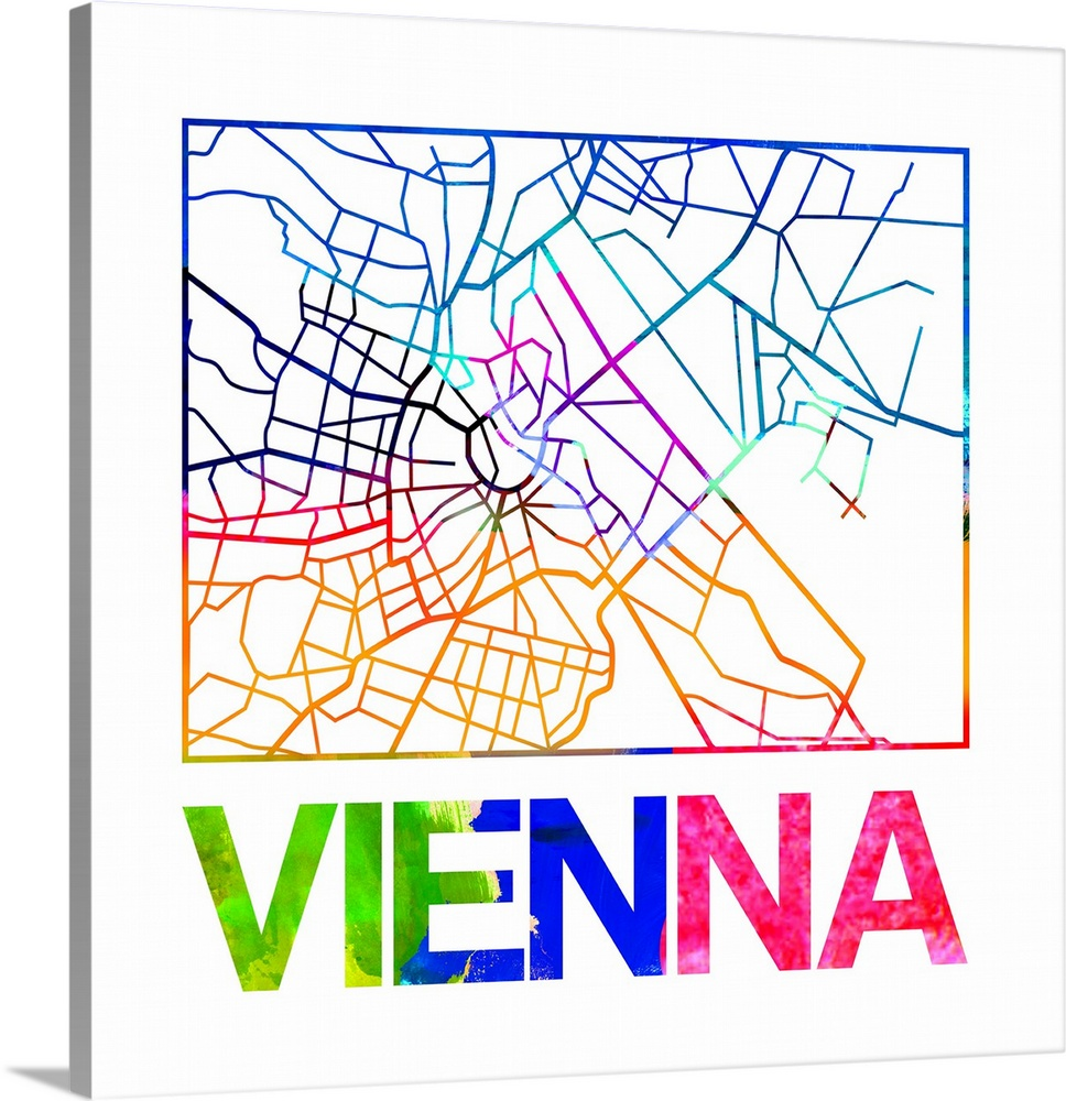 Vienna Watercolor Street Map Wall Art Canvas Prints Framed Prints