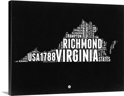 Virginia Black and White Map