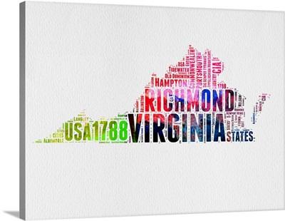 Virginia Watercolor Word Cloud
