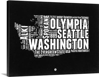 Washington Black and White Map